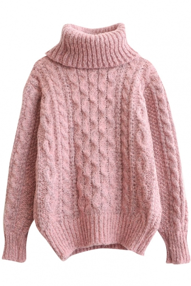 Plain Diamond Knit High Neck Long Sleeve Mohair Sweater