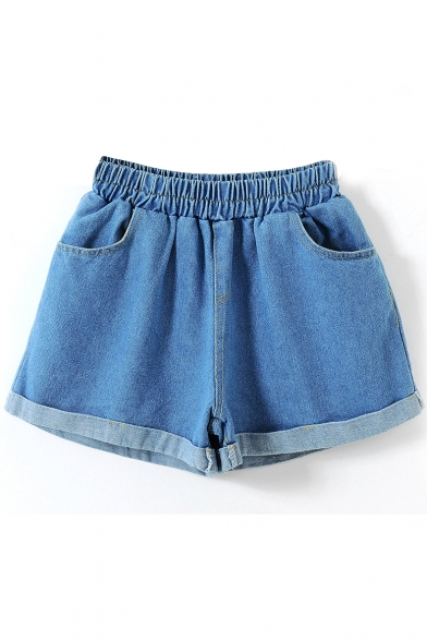 Light Blue Fold Cuff Elastic Waist Loose Denim Shorts ...