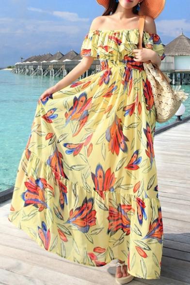 0719c7cf2e8 Off the Shoulder Ruffle Trim Floral Print Maxi Dress - Beautifulhalo.com