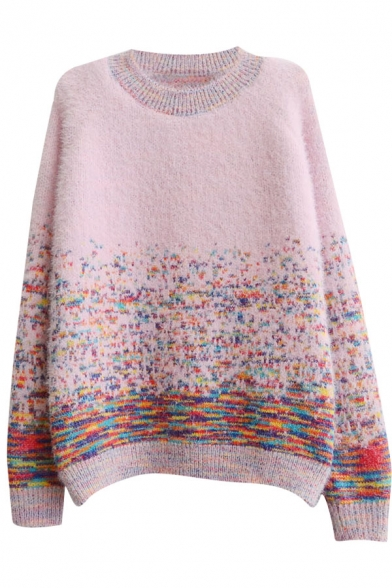 Rainbow Style Colorful Thread Long Sleeve Sweater with Round Neck