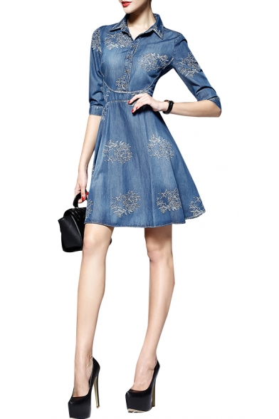 Blue 1/2 Sleeve Lapel Embroidered Denim A-line Mini Denim Dress