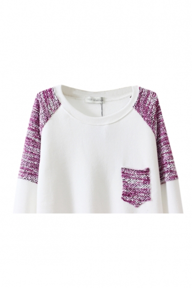 Round Block Sleeve Detail Knitted Long with Color Sweatshirt Neck OpwqwC5