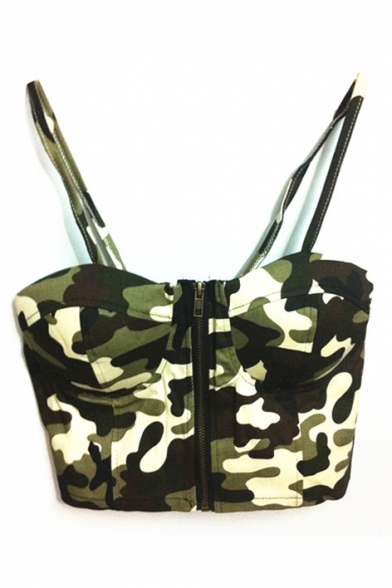 Hunter Green Camouflage Print Zipper Front Crop Bralets