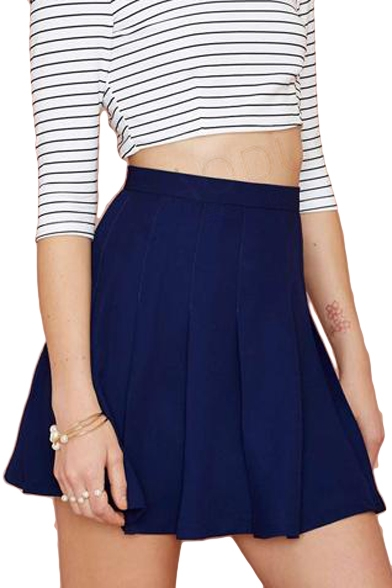 Navy Concise High Waist Skater Skirt - Beautifulhalo.com