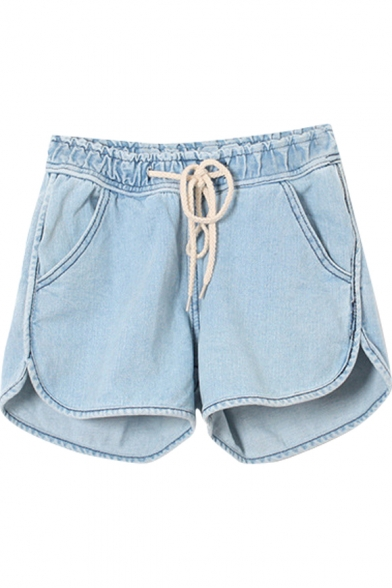 Plain Mid Waist Loose Denim Shorts with Drawstring Waist ...