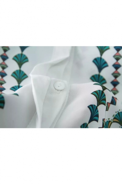 White 1/2 Sleeve Fan Leaves Print Loose Shirt