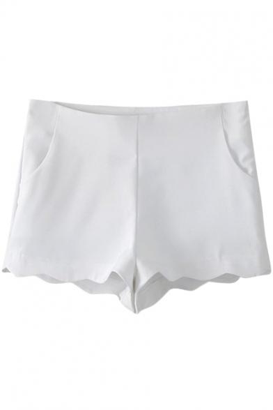 White Curve Hem High Waist Slim Shorts - Beautifulhalo.com