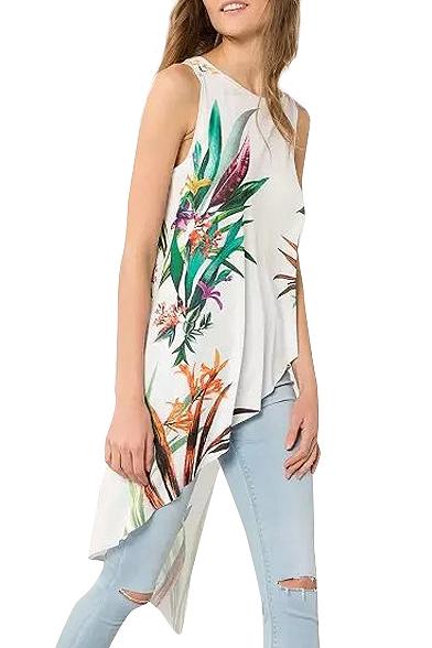 White Floral Print Sleeveless Asymmetrical Hem Dress