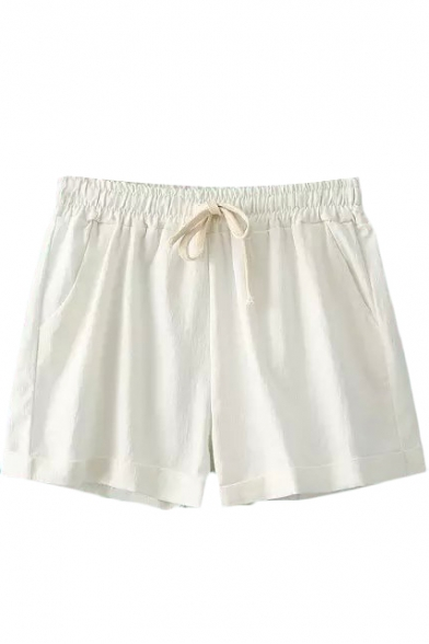 White Plain Drawstring Loose Shorts - Beautifulhalo.com