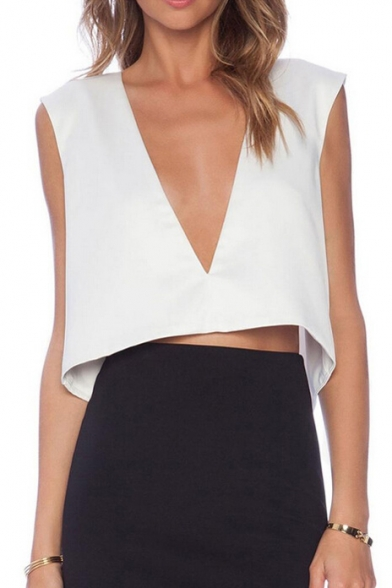 White Plunge Neck Back Split Crop Blouse