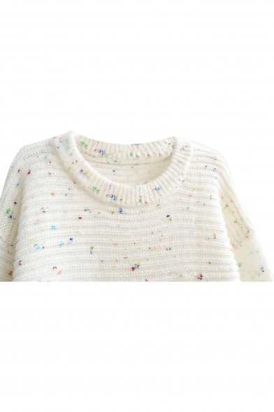 Owl Elbow Patch Colorful Polka Dot Round Neck Mohair Sweater