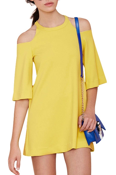 Yellow Cold Shoulder Mini A-line Dress