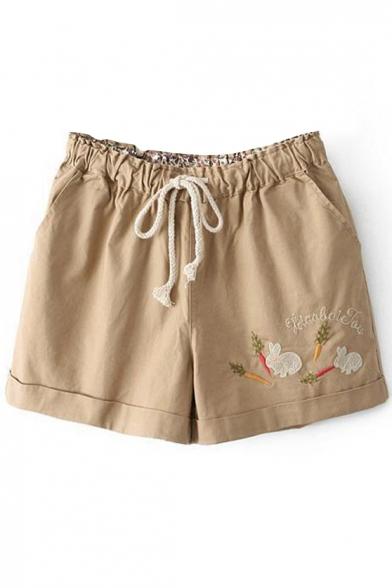 Khaki Rabbit&Carrot Embroidered Shorts