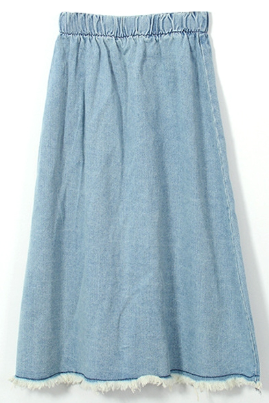 Light Blue Elastic Waist Cut Off A-Line Denim Skirt