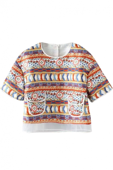 Multi Color Ethic Tribal Pattern Short Sleeve Crop Blouse