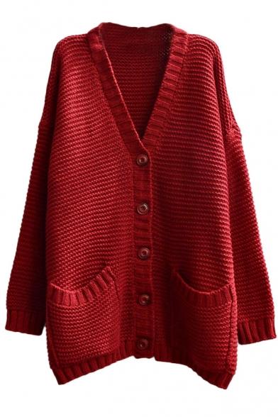 Plain Pockets Embellished Long Sleeve Midi Cardigan with V-Neck