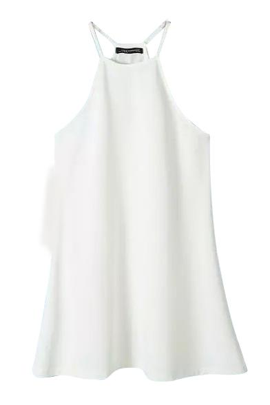 White Sleeveless Open Shoulder Halter Dress