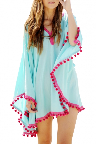Blue V-Neck Long Loose Sleeve Chiffon Cover-Up