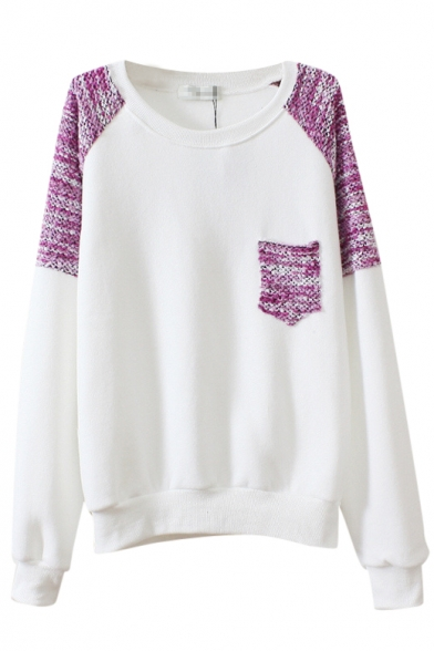 Color Block Round Neck Long Sleeve Sweatshirt with Knitted Detail