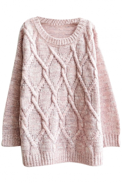 Geometrical Cable Knitted Mohair Round Neck Sweater in Loose Fit