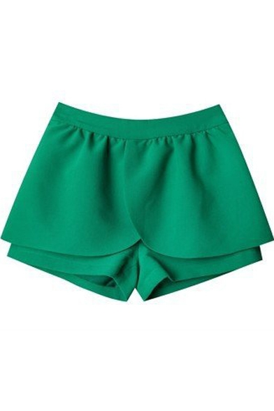 Ruffle Hem  Plain Zip Fly Loose Skort