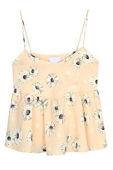 Sweet Ruffle Hem Daisy Print Camis