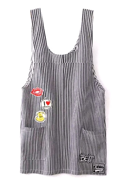 Thick Stripe Cartoon Appliques Double Pockets Overall Dress