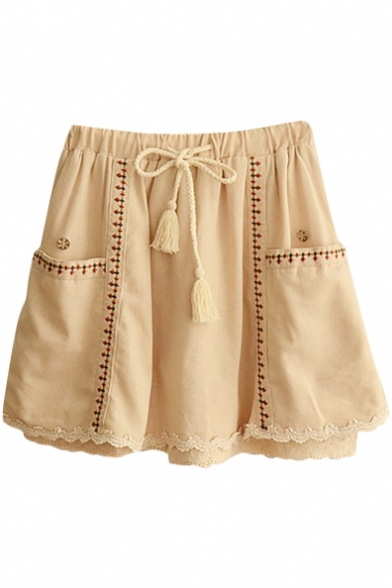 Beige Lace Trim Ethnic Embroidered Drawstring Waist Culottes