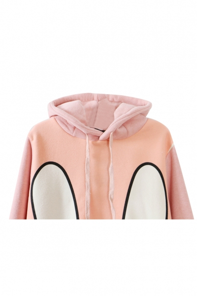 Bunny Print Long Sleeve Longline Hoodie with Rabbit Ear Embellished