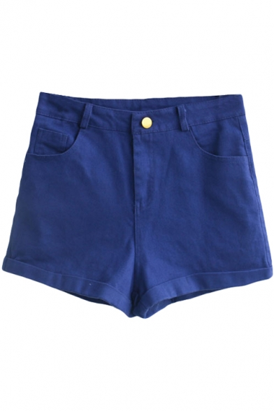 Dark Blue Vintage High Waist Shorts