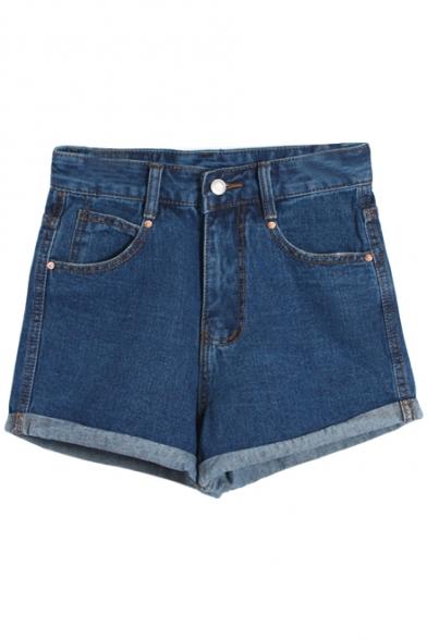 High Rise Blue Denim Plain Laid Back Shorts