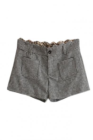 Hounderstooth Print Wave Trim Waist Pockets Denim Shorts