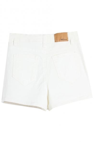 Plain Denim High Waist Shorts with Zipper Fly