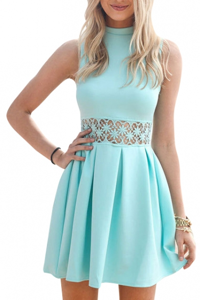 Turquoise High Neck Sleeveless A-Line Dress with Lace Inserted ...