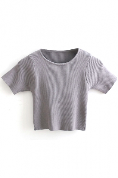 Gray Plain Knitted Short Sleeve Cropped Sweater - Beautifulhalo.com