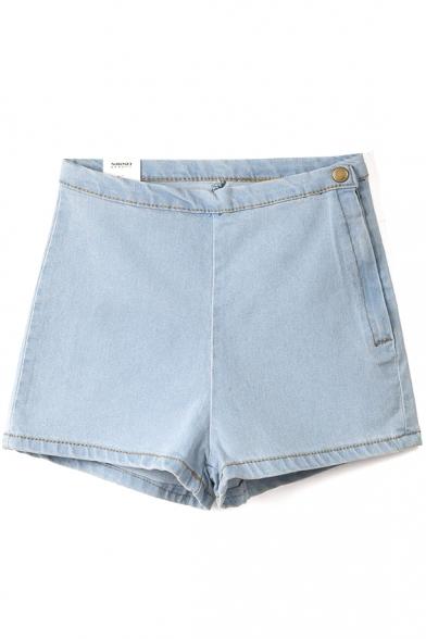 Light Blue High Waist Skinny Elastic Denim Shorts - Beautifulhalo.com