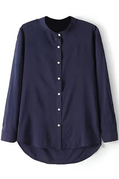 Navy Long Sleeve Stand Collar Dip Hem Basic Shirt