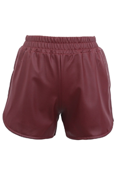 Plain Elastic Waist Low Rise PU Shorts