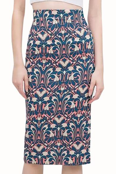 Print High Waist Back Split Pencil Skirt