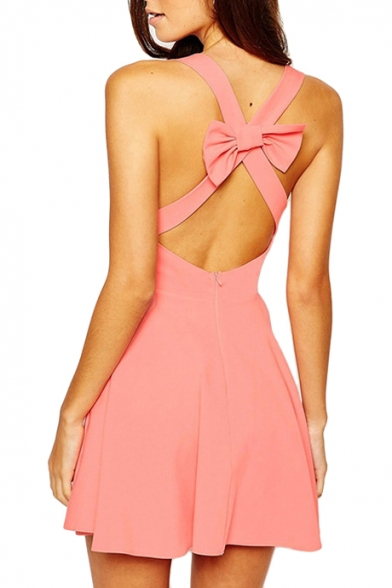 Blush V-Neck Cross Bow Back Skater Dress