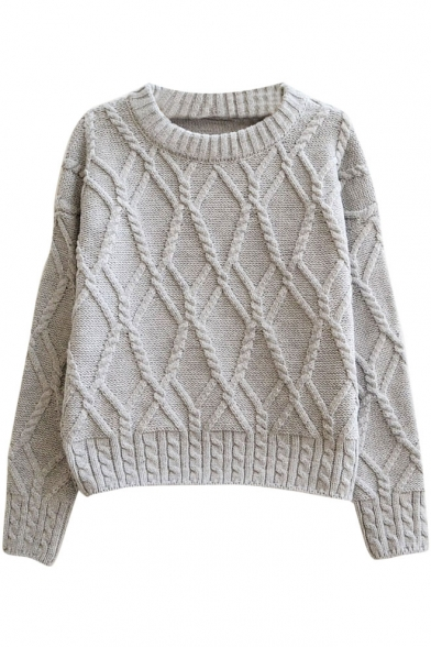 Plain Geometrical Pattern Cable Knitted Thick Crop Sweater