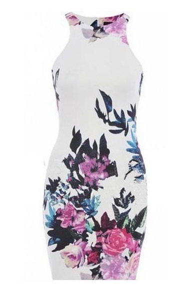 Vintage Floral Print Sleeveless Fitted Midi Dress