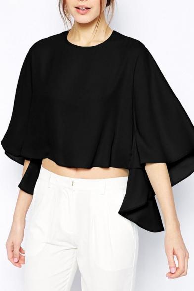 Black Round Neck Batwing Crop Asymmetrical Blouse