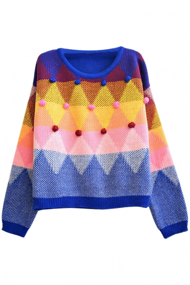 Geometrical Diamond Pattern Sweater Embellished with Hand Made Ball