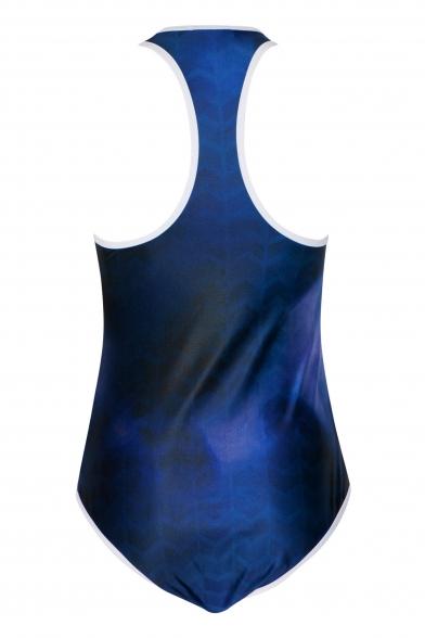 Navy Round Neck Sleeveless Zippered One Piece Swimwear