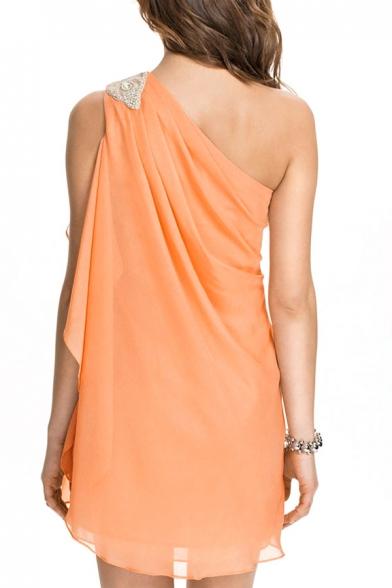 Orange One Shoulder Beaded Mini Dress