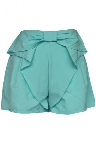 Plain Sweet Bow Tie Waist Culottes