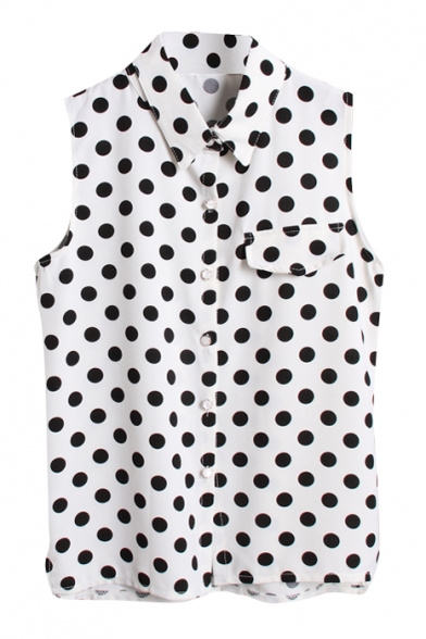 Polka Dot Print Lapel Sleeveless Chiffon Shirt