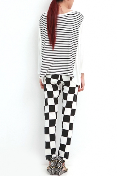 Neck Cardigan Sleeve Loose V Long Striped Back with f4qPwCd