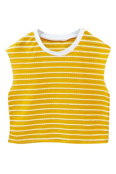 White Trim Sleeveless Stripe Crop T-Shirt